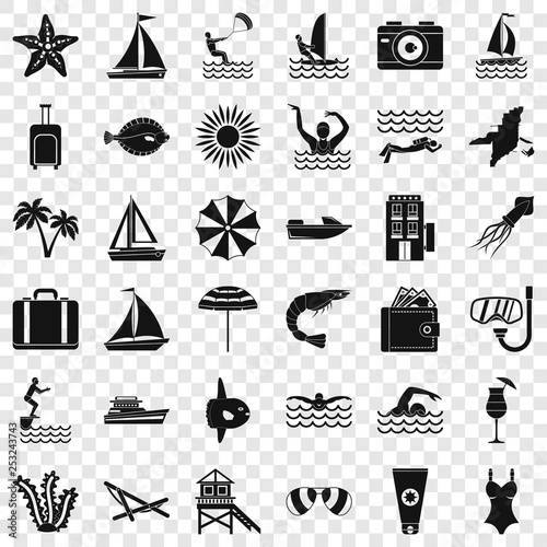 Rest in beach icons set. Simple style of 36 rest in beach vector icons for web for any design
