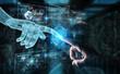 Leinwanddruck Bild - Wireframed robot hand and human hand touching digital graph interface on dark 3D rendering