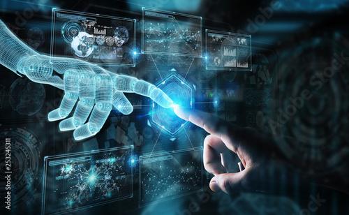 Leinwanddruck Bild Wireframed robot hand and human hand touching digital graph interface on dark 3D rendering