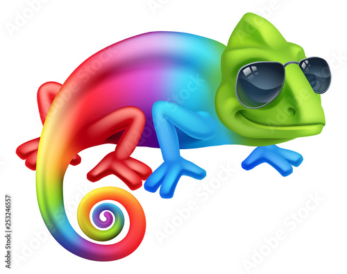 A cool chameleon lizard cartoon character in shades or sunglasses - 253246557