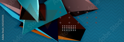 3d triangular shapes geometric background. Origami style pattern with triange shapes for decorative design. Poster design. Line design. Modern presentation template