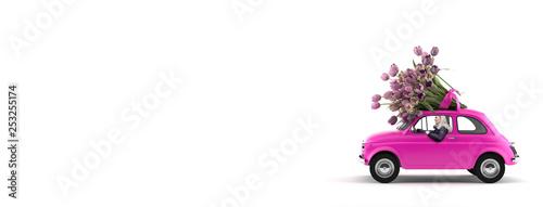 Auto mit Frau am Steuer und Blumen auf dem Dach - 253255174