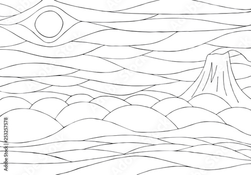 Black and white coloring with river and volcano. Vector drawing.