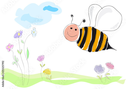 bee on flowers, vector illustration drawing made by a child style. Spring concept - 253257912