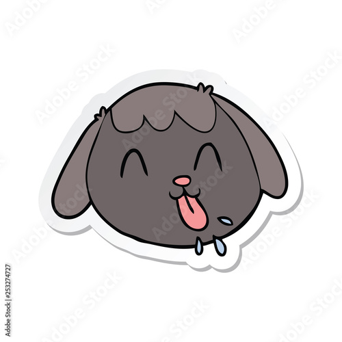 sticker of a cartoon dog face - 253274727