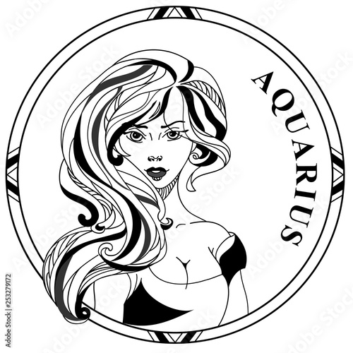 Vector illustration of sign zodiac Aquarius. Girl face with long hair in round frame. Line art. Design for tattoo. © Stupina