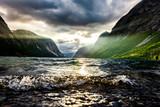 Fototapeta Natura - Sonnenstrahl am Fjord © by-studio