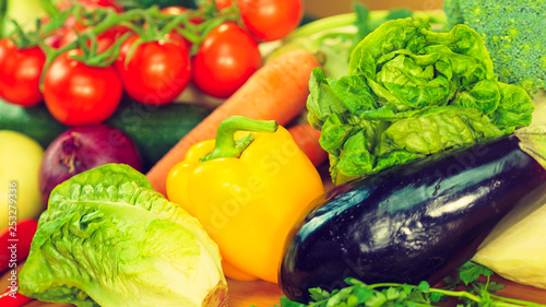 Many healthy colorful vegetables - 253279336