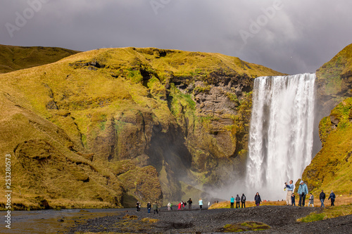 View of a waterfall in Iceland. Water flows from top to bottom. © sergeimalkov13