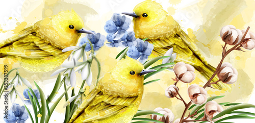 Spring card watercolor Vector with cute birds and flowers. Golden small birds. Vintage Color stains splash on backgrounds - 253287599