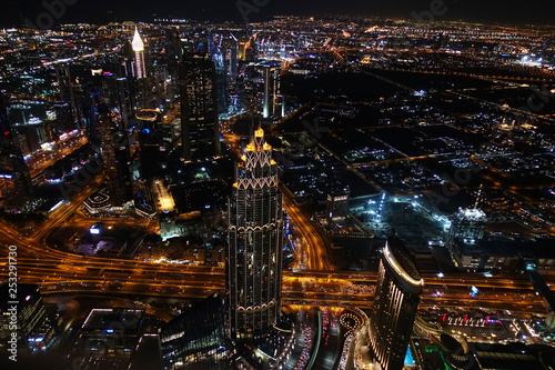 Aerial view of Dubai by night, famous place to visit in the Middle East