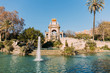 Leinwanddruck Bild - BARCELONA, SPAIN - DECEMBER 28, 2018: architectural ensemble and lake with fountains in Parc de la Ciutadella