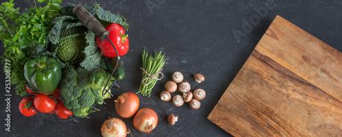 Healthy vegetables background - 253308777