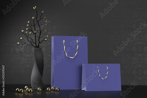 Luxury blue paper shopping bag with handles Mock Up. Premium black package for purchases mockup on a black background. 3d rendering.