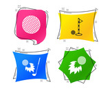 Golf ball icons. Fireball with club sign. Luxury sport symbol. Geometric colorful tags. Banners with flat icons. Trendy design. Vector