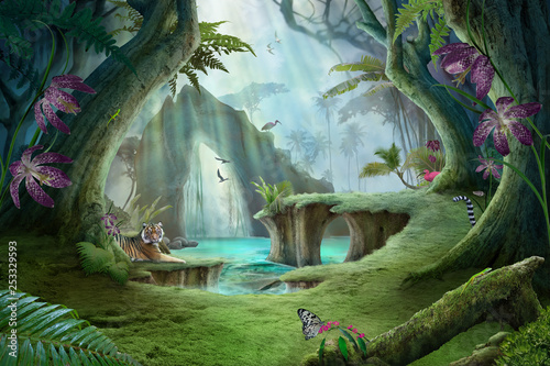 enchanted jungle lake landscape with tiger, can be used as background