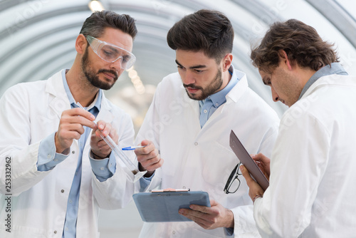 scientists analysing results from experiment
