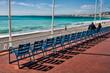 canvas print picture - Stuhlreihen, Promenade des Anglais in Nizza, Frankreich