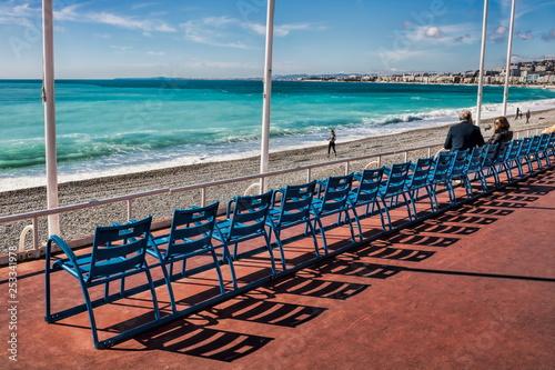 canvas print picture Stuhlreihen, Promenade des Anglais in Nizza, Frankreich