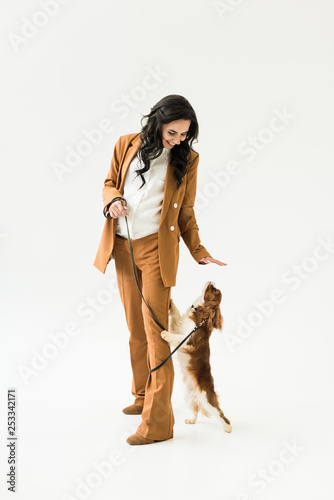 Leinwanddruck Bild Smiling pregnant woman in brown suit playing with dog on white background