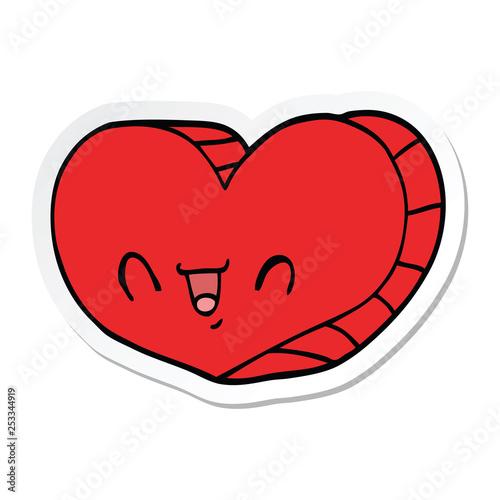 sticker of a cartoon love heart