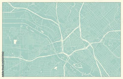 Dallas USA Map in Retro Style