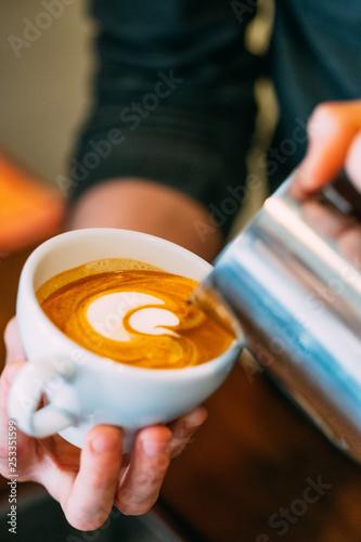 Barista Making Latte Art Coffee