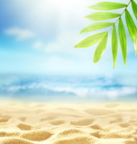 Summer beach background. Sand, palm leaf, sea and sky.