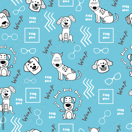 obraz PCV Hand doodle seamless pattern with funny dogs and abstract elements. Vector textile, wrapping, wallpaper, background. Vector illustration