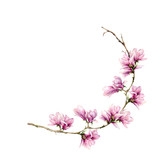 Watercolor magnolia card. Hand painted border with flowers on branch isolated on white background. Floral elegant illustration for design, print. - 253376345