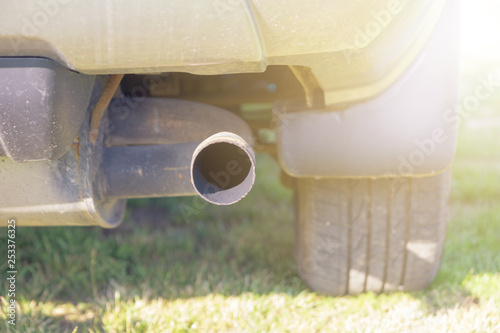 car exhaust pipe  - 253376325