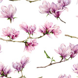 Watercolor magnolia and leaves seamless pattern. Hand painted flowers and green leaves on branch isolated on white background. Floral illustration for design, print, fabric or background. - 253376523
