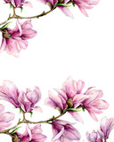 Watercolor magnolia and leaves vertical card. Hand painted border with flowers on branch isolated on white background. Floral elegant illustration for design, print. - 253376538