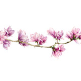 Watercolor magnolia and leaves seamless border. Hand painted flowers and green leaves on branch isolated on white background. Floral illustration for design, print, fabric or background. - 253376581