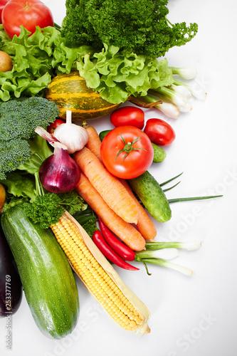 fresh vegetables on the white background - 253377769