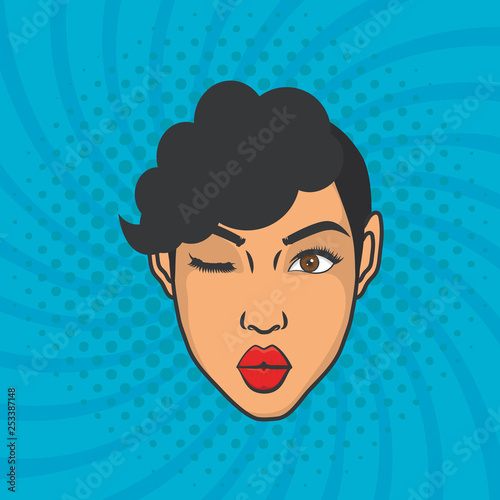 beautiful woman head pop art style © djvstock