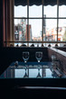 Empty glasses set in the interior of the restaurant