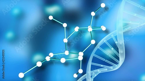 Molecular structure with DNA helix on blue background