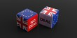 Brexit, deal or no deal concept. United Kingdom and European Union flags on dice. 3d illustration