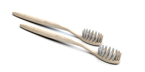Eco, alternative teeth care. Two ecological healthy toothbrushes isolated on white, 3d illustration © Rawf8