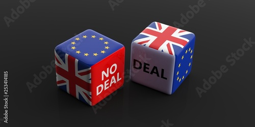 Leinwanddruck Bild Brexit, deal or no deal concept. United Kingdom and European Union flags on dice. 3d illustration