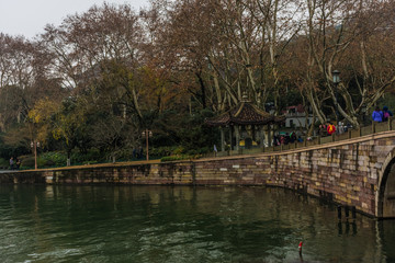 Chinese temple near the West Lake of Hangzhou, China