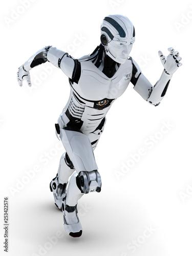 3D Illustration Roboter beim rennen frontal © fotomek