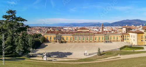 florence,tuscany/Italy 24 february 2019 :view of Pitty palace from the top  of the Boboli gardens the sky is clean except some clouds - 253424148