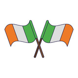 Ireland flags crossed symbol blue lines