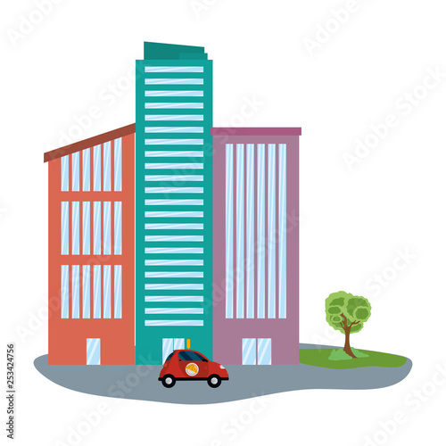delivery car in cityscape