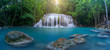 Leinwandbild Motiv Panoramic beautiful waterfall in deep forest waterfall at Thailand