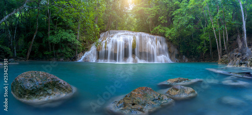 Panoramic beautiful waterfall in deep forest waterfall at Thailand - 253425931