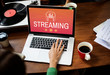 Leinwanddruck Bild - Digital media music streaming audio leisure