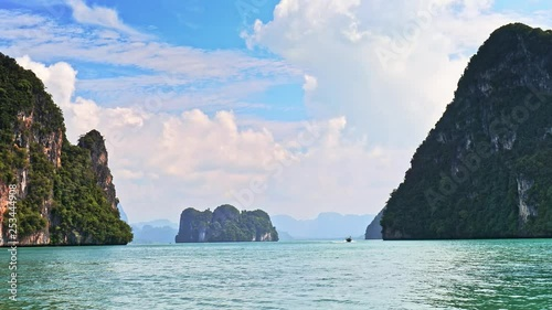 Limestone rock islands in Andaman sea of Thailand view from boat. Amazing nature. Southeast Asia travel destination video background